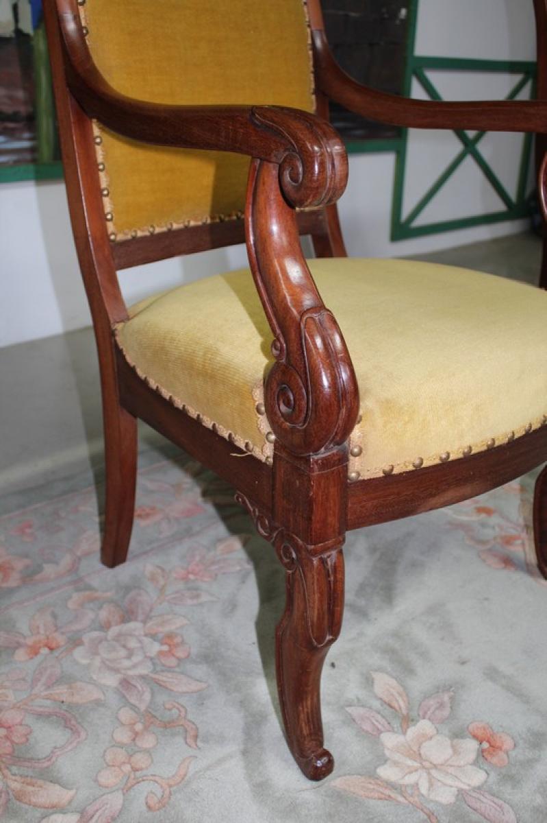 fauteuil restauration en acajou xixe antiquites lecomte. Black Bedroom Furniture Sets. Home Design Ideas