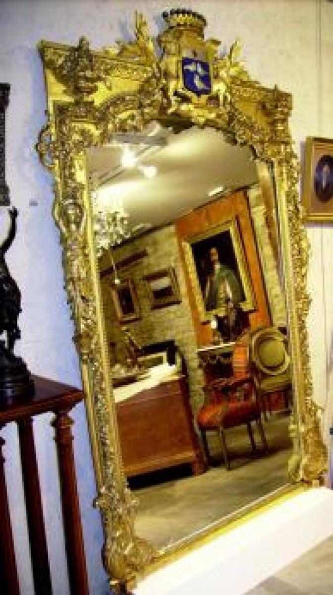 Grand miroir blason aux lions et couronne comtale for Miroir xix siecle