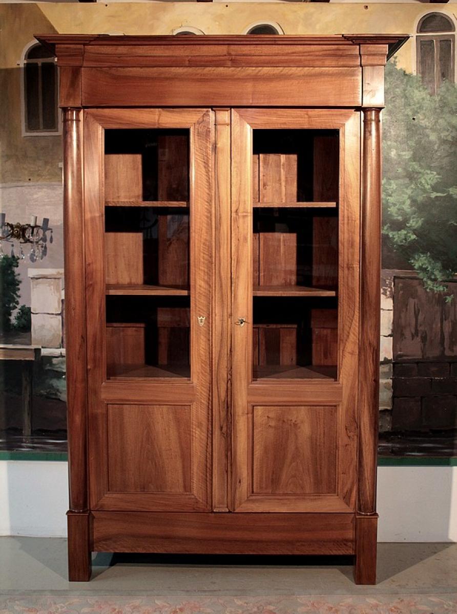 armoire biblioth que empire en noyer xixeme antiquites lecomte. Black Bedroom Furniture Sets. Home Design Ideas