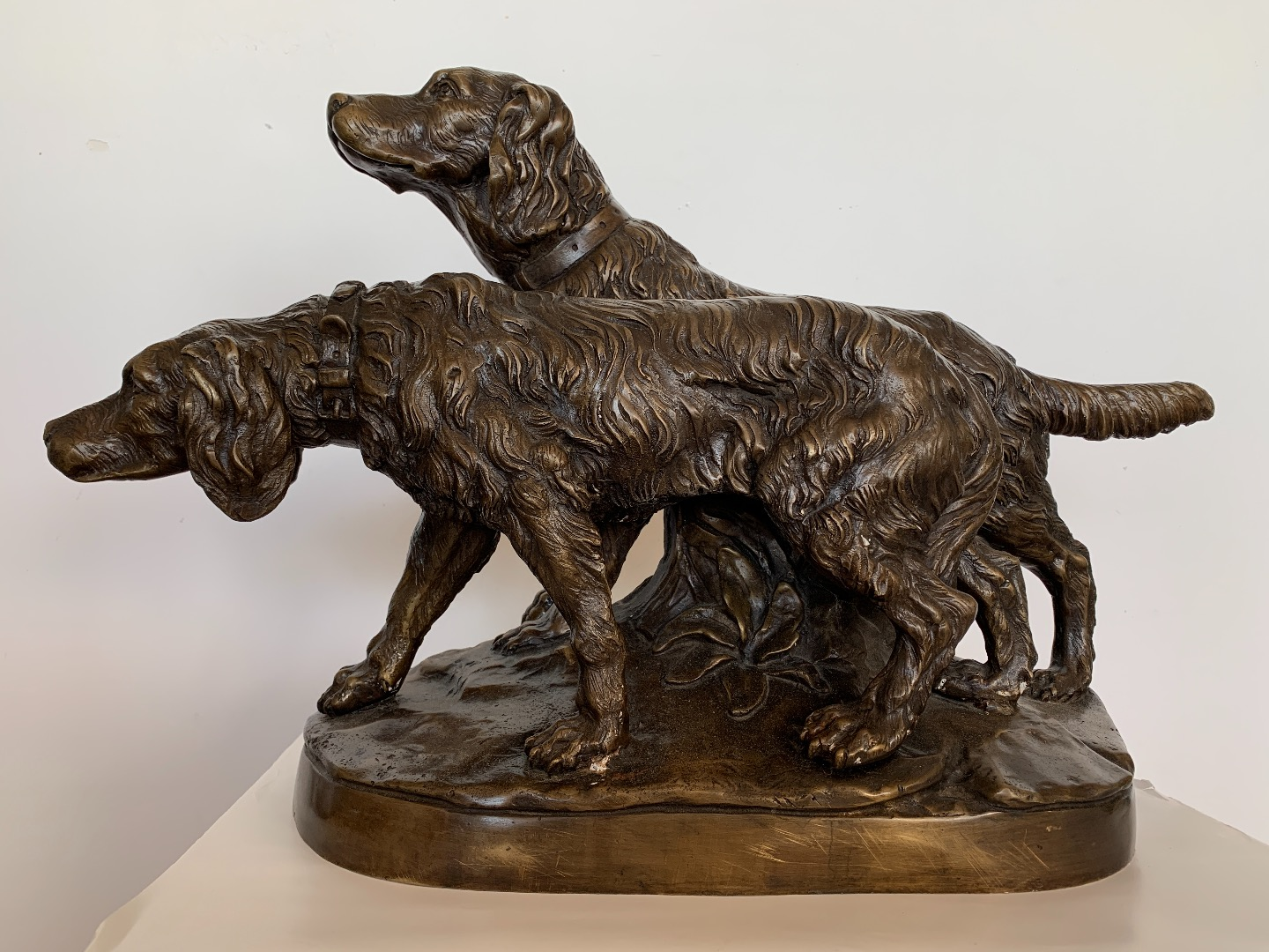 Couple de Setter, sculpture en bronze