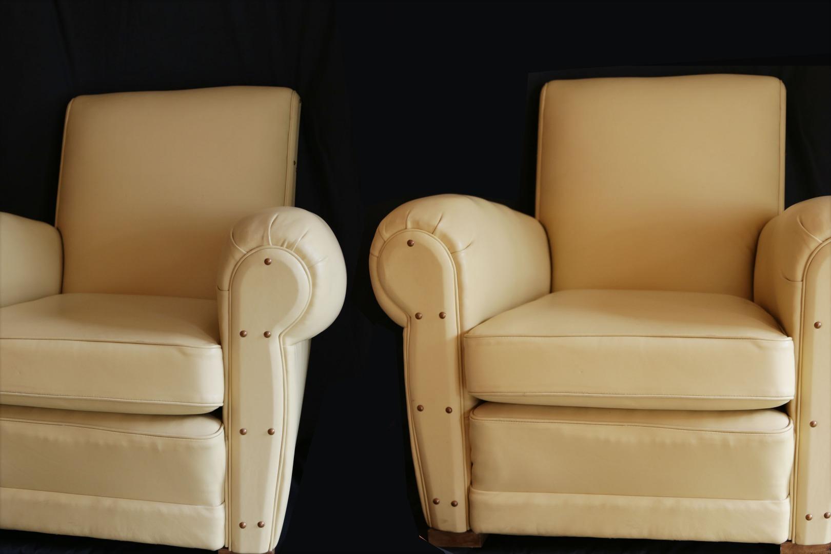 Fauteuil Club A Restaurer paire de fauteuils club en cuir pleine fleur beige années 30