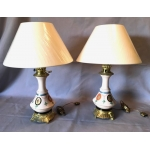 PAIRE DE LAMPES PORCELAINE A MODERATEUR